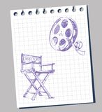 Film background. Movie film strip and director's chair Stock Photos
