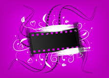 Film banner. Banner of a film with an ornament on a violet background Royalty Free Stock Photo