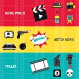 Film Banner Set. Film horizontal banner set with action movie and triller elements isolated vector illustration Stock Photo