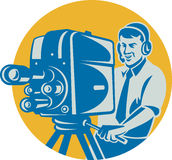 Film-Besatzung Fernsehkameramann-Film-Kamera Lizenzfreies Stockbild
