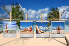 Film-Bilder einer schönen Frau auf dem Strand Stockfotos