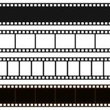 Film black and white strip. Long film line with a blank sequence of images for projection of pictures, movie. Vector flat style cartoon illustration Stock Photos