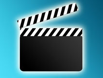 Film board. Black and white film board on blue background Stock Photos