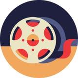 Film Bobbin. Icon in Flat Style Royalty Free Stock Photo