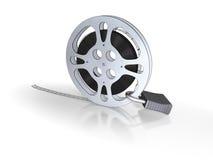Film bobbin with lock. Isolated on white background Stock Photo