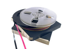 The film for the bobbin tape recorder. Is isolated on a white background Stock Photo