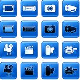 Film buttons. Collection of blue square film rollover buttons Stock Photo