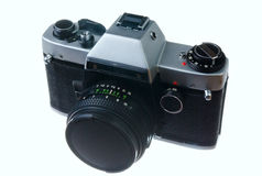 Film camera. Old film camera isolated on a white background Royalty Free Stock Photography