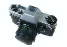 Film camera. Old film camera isolated on a white background Royalty Free Stock Image