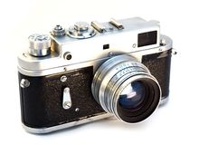 Film camera. Picture of an old film camera isolated on white Royalty Free Stock Photography