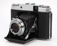Film camera. Compact film camera isolated on white royalty free stock image