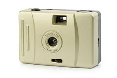 Film camera. Focus free toy 35mm film camera Royalty Free Stock Images