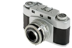 Film camera. An old film camera, isolated on white Stock Images