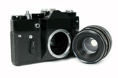 Film camera. The film camera on a white background Royalty Free Stock Photos