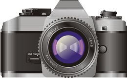 Film Camera. Illustration of the front view of a film camera Stock Photo