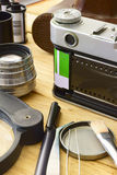 Film camera and accessories Stock Photography