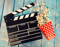 Film camera chalkboard with popcorn Royalty Free Stock Photography