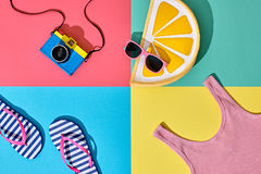 Film Camera. Fashion Summer Set. Pop Art Design Stock Images