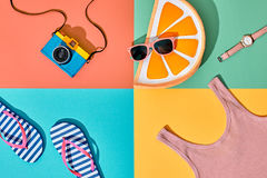 Film Camera. Fashion Summer Set. Pop Art Design Royalty Free Stock Images