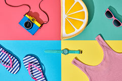 Film Camera. Fashion Summer Set. Pop Art Design Royalty Free Stock Photo