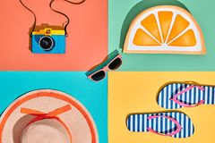 Film Camera. Fashion Summer Set. Pop Art Design Stock Photo