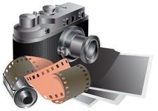 Film camera, film, pictures. Stock Image