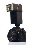 Film camera with flash Royalty Free Stock Images