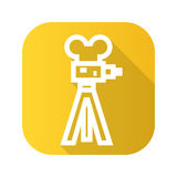 Film camera flat linear long shadow icon. Vector line symbol. Royalty Free Stock Photography