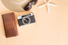 Film camera and hat on a white background,travel concept top vie Royalty Free Stock Image