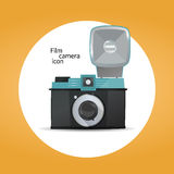 Film camera icon concept. Film camera icon on orange background Royalty Free Stock Images