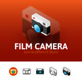 Film camera icon in different style. Film camera color icon, vector symbol in flat, outline and isometric style isolated on blur background Stock Photos