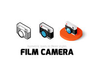 Film camera icon in different style. Film camera icon, vector symbol in flat, outline and isometric style Royalty Free Stock Photos
