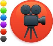 Film camera icon on round internet button.  Stock Photo