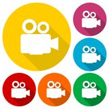 Film Camera Icons set with long shadow. Vector icon Stock Photo
