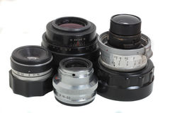 Film camera lenses Royalty Free Stock Photos