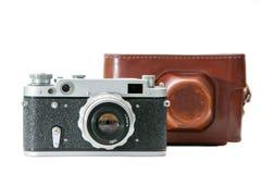 Film camera. Retro film camera and case isolated on white Royalty Free Stock Photo