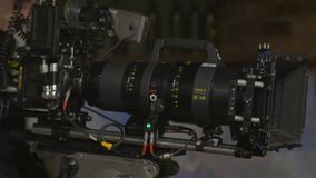 The Film Camera Setting. Anamorphic film zoom lens 35-140 mm equipment stock footage
