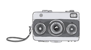 Film Camera vintage  35 mm Rangefinder hand drawn cute vector ar Royalty Free Stock Image