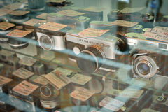 Film cameras store Royalty Free Stock Photos