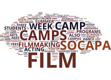 Film Camp Text Background Word Cloud Concept Stock Image