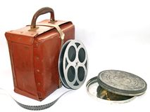 Film Case. With film spool Royalty Free Stock Photo