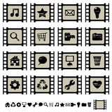 Film cell icons set 1. Set of black film cell application icons, set 1 Royalty Free Stock Photos