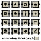 Film cell icons set 2. Set of black film cell application icons, set 2 Royalty Free Stock Photography