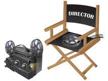 Film chair with video projector Stock Photos