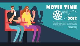 Film cinema festival poster. Movie time, couple date at theater vector background. Illustration of film movie cinema, entertainment cinematography event Royalty Free Stock Photos