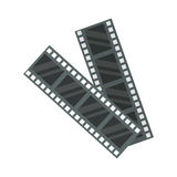 Film cinema technology vector illustration. Film cinema technology vector. Twisted movie strip with round box roll illustration. Cinematography roll old art box Stock Photo