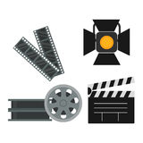 Film cinema technology vector illustration. Film cinema technology vector. Twisted movie strip with round box roll illustration. Cinematography roll old art box Stock Image