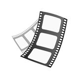 Film cinema technology vector illustration. Film cinema technology vector. Twisted movie strip with round box roll illustration. Cinematography roll old art box Royalty Free Stock Photos