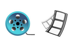 Film cinema technology vector illustration. Film cinema technology vector. Twisted movie strip with round box roll illustration. Cinematography roll old art box Stock Images