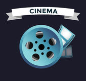 Film cinema technology vector. Twisted movie film strip with round box. Cinema film roll vector illustration. Cinema films 3d design, vector cinema movie image Royalty Free Stock Images